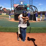 Love will bring us together #sfgiants #dodgers. She said yes! http://t.co/s3Z1k7CflO