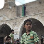 RT @paulmasonnews: Gaza Al Umari mosque at Eid. Some kids totally resilient & chatty. Others quiet, stunned. http://t.co/tOCvv9VQYU