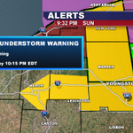 RT @WKBN: JUST IN: Severe Thunderstorm WARNING in effect for Mahoning County, until 10:15 PM http://t.co/hKVH2lYKb3