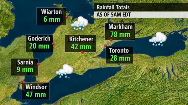 Nicole Karkic (@NicoleKarkic): Rainfall totals in Ontario since last night.  #Toronto #yyz #onstorm #flooding #wetsummer http://t.co/O1yMGwdBoY