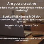 This Wed-Fri FREE MOT slots to chat social media & marketing. Book now only few slots left! #Bristol, #London, #Bath http://t.co/Pv0zZf9E2y