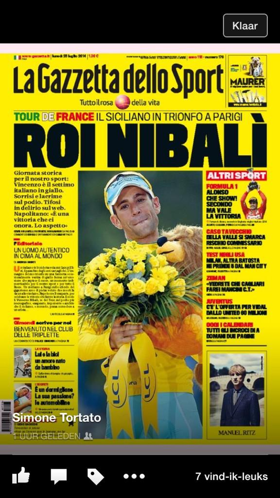 Today no pink but yellow @Gazzetta_it King Nibali ! Nice @letour @Bovano http://t.co/151OcXN2Ow