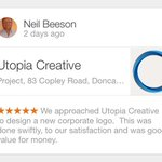RT @Utopia_Creative: Yet another great customer review! #doncasterisgreat #ilovedn #KPRS #tweeturbiz @UKBusinessRT #bizitalk http://t.co/guDCiSoch6