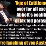 Cant wait til we get the lecture about the Age of Entitlement #qanda Wonder if Briggs went to a footy game last week http://t.co/YhMYhjnYvv
