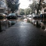 And just like that, sunny skies again. Bromfield rd in Somerville slowly draining, residents picking up trash. http://t.co/iR4HJYVCcg