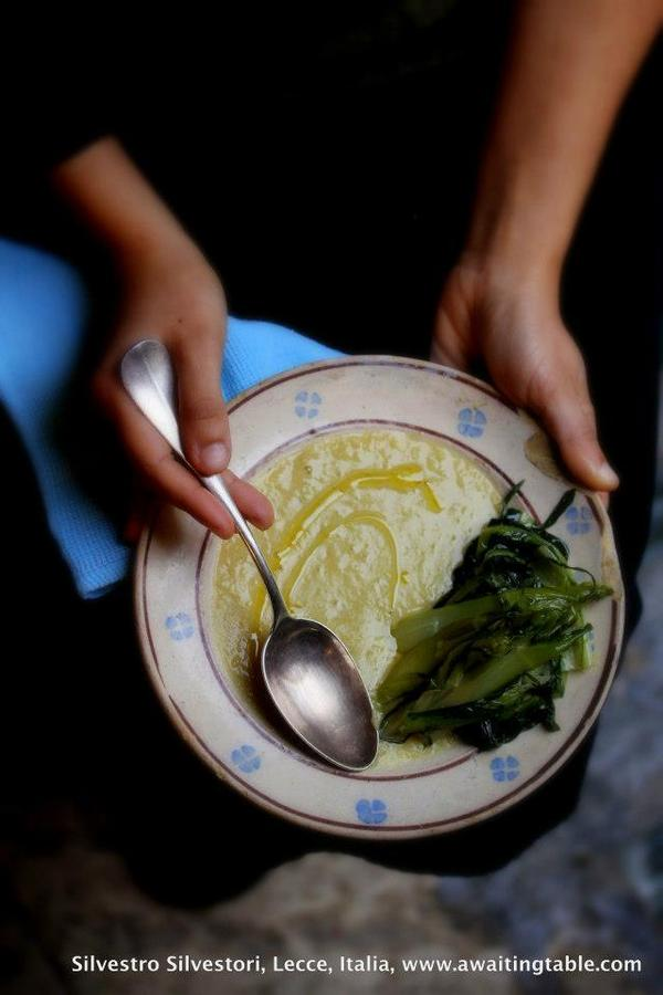 Fava beans puré , wild chicories and extra-virgin olive oil , Fae e Fogghie from Salento, Puglia, Southern Italy