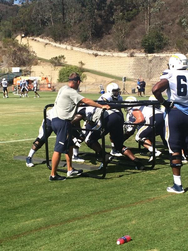 Coach McCoy getting as close as possible to King Dunlap. #chargerscamp