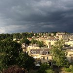 I think it might be very wet in @WeLoveBath soon! Current view over @royalcrescent gardens #bath http://t.co/b2lRyBsTff