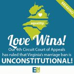 RT @equalitync: BREAKING: Love wins! The #4thcircuit has struck down VAs ban on the freedom to marry. RT - to spread the word. http://t.co/avgs2s60Tl