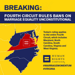 BREAKING: Fourth Circuit strikes down same-sex marriage ban. #MarriageMomentum http://t.co/kBgHRihRx1