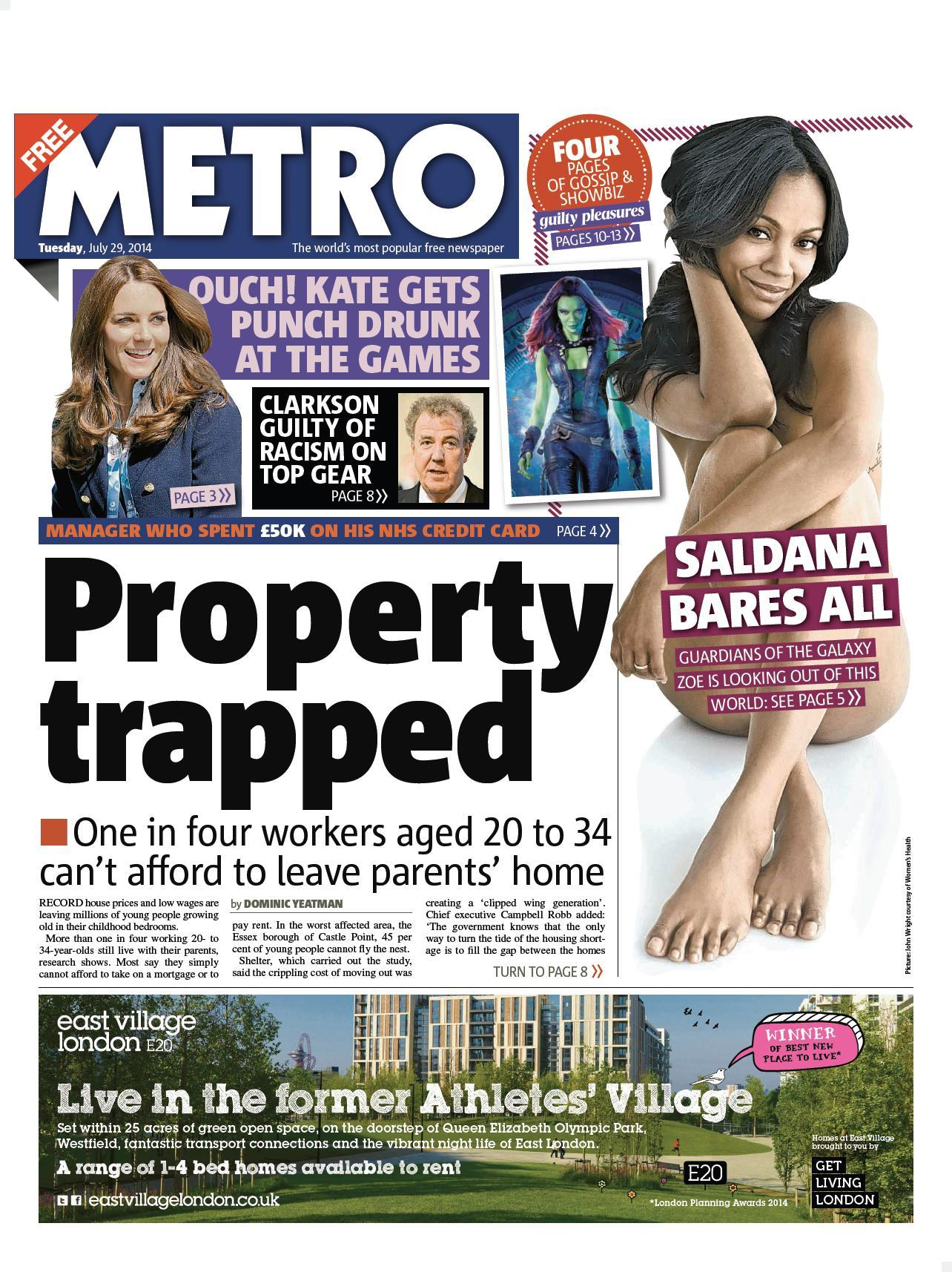 """Tuesday's Metro: """"Property trapped"""" http://t.co/kOkvIPpCen #TomorrowsPapersToday #BBCpapers via @suttonnick"""