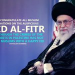 RT @khamenei_ir: #EidMubarak to great Islamic Ummah; although Zionists crimes in #Palestine has left no #Eid for Muslims. 12/16/01 http://t.co/SR888VgvaT