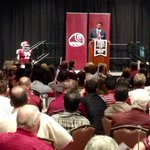 Our Aggie head football Coach @CoachSumlin addresses the packed house in Aggieland at the @BCAMC Coachs Night. http://t.co/OWUqLuzEbz