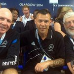 #PrinceHarry has followed his grandma,with a #photobomb in New Zealand 7s coach Gordon Tietjens pic #Glasgow2014 http://t.co/qzh93ZQctb