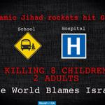 Rockets fired by #Gaza TERRORISTS hit a school + hospital in #Gaza killing innocent civilians! Guess who get blamed!? http://t.co/RSrHKLT2gZ