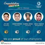 Our champions are making us proud everyday at #CWG2014 Congratulating the medal winners of Day 5 at Glasgow http://t.co/IpLTih7AdJ