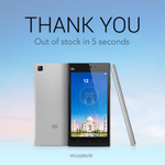 Thank you, Mi fans! Our Mi 3 was out of stock in just 5 seconds on @Flipkart today! http://t.co/KkohiuWIDX