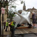 RT @robbhankins: Birth of the NFL sculpture has arrived in Canton.#birthofthenfl http://t.co/sQ1Aa8mjAw