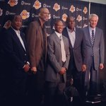 Heck of a starting 5. Wilkes, Kareem, Byron Scott, Magic, Kupchak. #Showtime #Lakers http://t.co/yEaRlZQj7h
