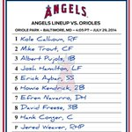 #Angels open a series in Baltimore with this starting lineup. http://t.co/UuIek5K2dP