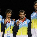 RT @IExpressSports: PHOTOS: Indias medals winners. Gold medals- #SushilKumar, Vinesh & Amit http://t.co/tZDCX3Rz80 #wrestling #shooting http://t.co/Q19rb3aKfs