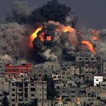 Terrifying image of #Israel-i airstrike today on #Gazas Tuffah neighborhood on front page of @Independent (Pic: EPA) http://t.co/GdTv9hCljP