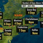 Days of 30C and above since May. Yes, its been cool. Note #Toronto and #GooseBay are the same. http://t.co/tBkL8woKUf