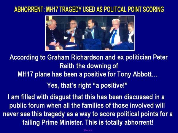 OMG...this is SHOCKING ~ has to be a reason for Abbott's rating in the next polls to fall dramatically! #MH17 #auspol http://t.co/BWK0uO3cYP