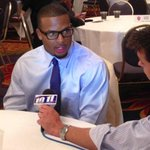 Nice pict (via LJS) of my man, @kevinsjuts talking with @Ameerguapo at #B1GMediaDay #Huskers http://t.co/olKYN3YR52
