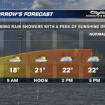 Showers for the first half. Dry for the second half. #Torontos forecast for Wed. July 30th. #Citywx http://t.co/aCor1KKot9