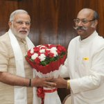 Governor of Sikkim, Shri Shrinivas Patil calling on the Prime Minister, Shri Narendra Modi. Courtesy: Photo Division http://t.co/oCPG5xWpJe