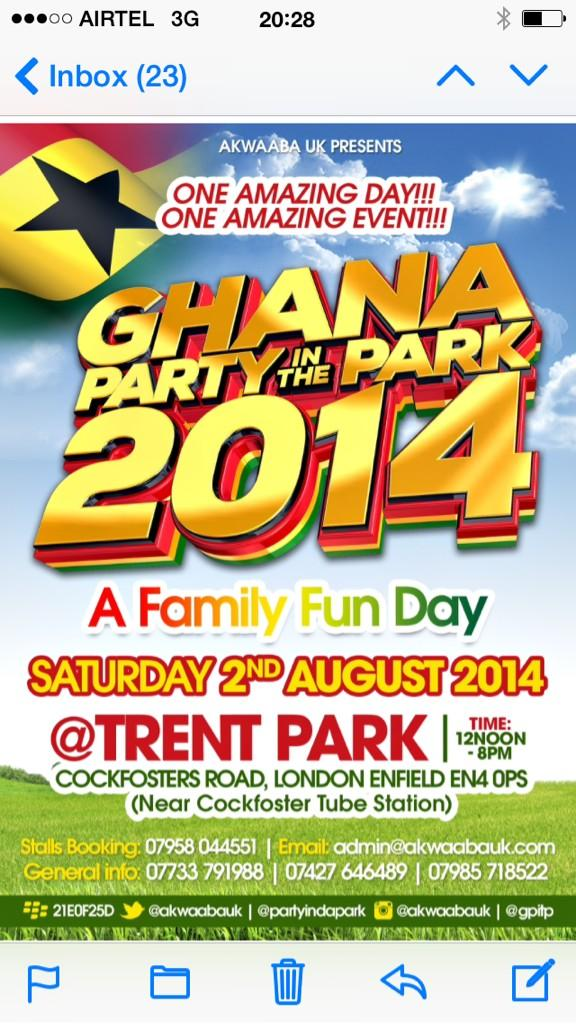 We are performing for the first time at Ghana Party In The Park. This Saturday 2nd Aug. See you there http://t.co/iYsO6iw4da