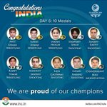 RT @INCIndia: Chak De India! - Congratulations to all our shining stars for bagging 10 medals for India on Day 6 #CWG2014 http://t.co/IJemsPqam3