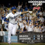 RT @Dodgers: #Dodgers topple Braves behind two homers from @TheRealMattKemp. Recap: http://t.co/pK26FCrIB0 http://t.co/EftKtz9D3Q
