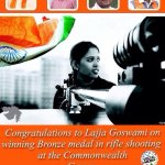 #Congratulations to @lajjagauswami on winning Bronze medal in rifle shooting at the @Glasgow2014 . @pradipsinhbjp http://t.co/KTYj4HM3aN
