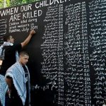 RT @ArabVoicesSpeak: The Palestinian Wailing Wall.Names of children massacred by #Israel in #Gaza in the past two weeks only http://t.co/XqKsNEy9NV