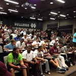 Its here! Players gathering for first meeting of camp. #ReportingDay #HailState http://t.co/iZ3LPi7O0x