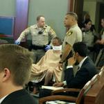 Accused Bellagio robber appears in court. Refused to speak or open his eyes. #mynews3. http://t.co/Y4dwZoV0Tx