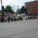 Protesters of all kinds and causes outside the Uptown waiting for President Obama @jasonmlamb #ObamaInKC http://t.co/jwYAVNrMlO