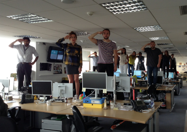 """""""Oh Captain, My Captain""""  Saying a sad goodbye to  #RobinWilliams from everyone at the ITV2 office. #RIP http://t.co/xXDBDcN0i6"""
