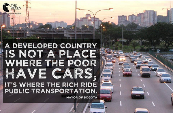 """""""@BrentToderian: """"A dev'd country is not a place where the poor have cars. Its where the rich ride public transit."""" http://t.co/HolSfhjaXs"""""""