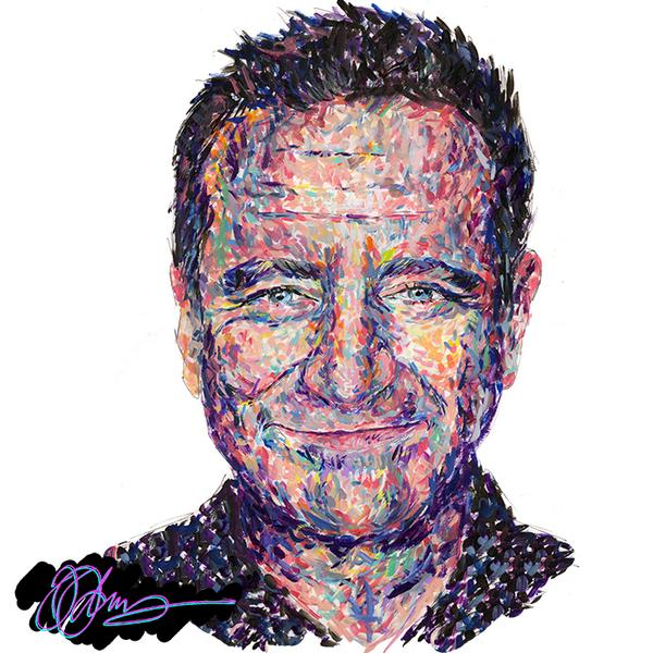 My daughter Olivia's incredible portrait of Robin Williams - I think she's captured him so well! http://t.co/N7tHd9Y2Ax