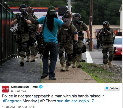 Why NO News Coverage @Cnn? RT @Slate: The images out of #Ferguson last night were surreal: http://t.co/k2RxI4UaW9 http://t.co/iRcOji4mS9