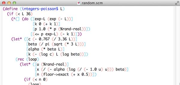 Scheme コード内の括弧を意味(手続き適用、マクロの起動、その他)に応じて色を変えたりしてみてた。実装は、 Gauche のコンパイラの pass1 に手を入れて、 extended-pair に属性をつけてごにょごにょ http://t.co/1eNFZl1jYm