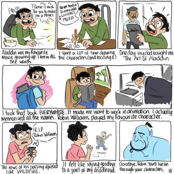 #RIPRobinWilliams - a #comic about his influence on me. @Sketch_Dailies #sketchdailies http://t.co/1kMY074tO7