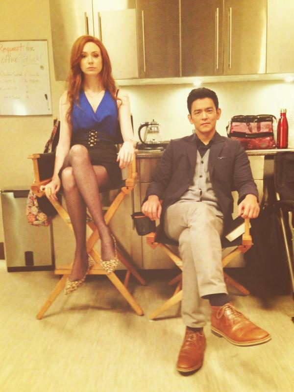 @KarenGillan2 was the better actor in the scene, so she gets the chair. http://t.co/li624yJZ6l