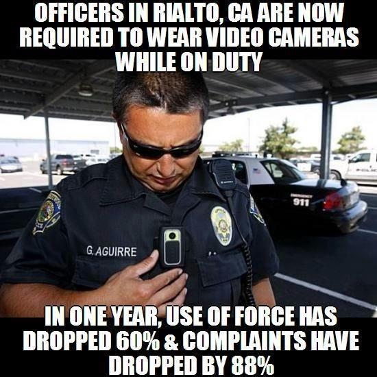 Police in Rialto, CA wore cameras: Complaints dropped 88%, use of force dropped 60% http://t.co/qy0QisaNLC #Ferguson http://t.co/ABESC0QSKT