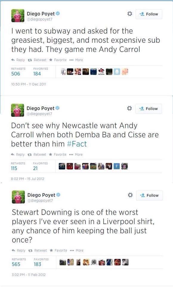 Awkward! New West Ham man Diego Poyet apologises for criticising Andy Carroll & Stewart Downing