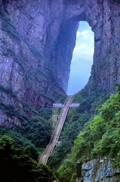 Heaven's Stairs - Tian Men Shan, China. http://t.co/FYQPFf6DgO
