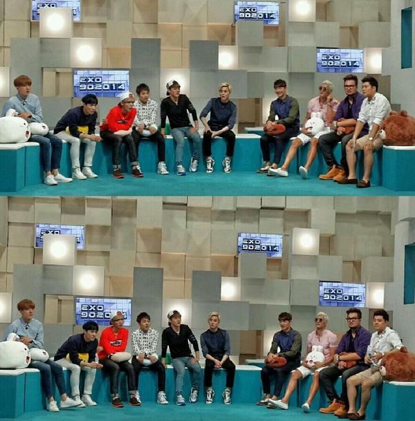 Mnet #EXO 90:2014 set장애서! #액소 동생들은 멋찐건 당현하지만 다들 넘착하다! 리더 수호의 여양이 큰거갓다! My EXO lil bros are all Nice guys! #지오디 #kpop http://t.co/sS7fwnTC90